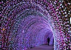 Ligtingstunnel in Kerstmis stock fotografie