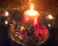 Ligts di Natale della candela Fotografie Stock