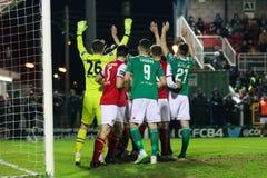 Ligue de correspondance de premier ministre Division de l'Irlande entre Cork City FC contre le FC sportif de St Patrick photos libres de droits