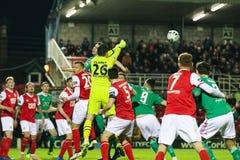 Ligue de correspondance de premier ministre Division de l'Irlande entre Cork City FC contre le FC sportif de St Patrick image libre de droits