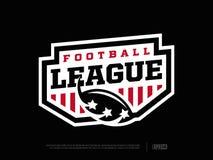 Ligue de football américain professionnelle moderne d'emblème dans le thème rouge et noir illustration libre de droits