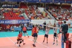Ligue dell'europeo della partita di pallavolo Fotografia Stock Libera da Diritti