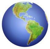 Ligue à terra mostrar norte, central, e Ámérica do Sul. Fotografia de Stock