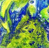 Liguid水彩和墨水摘要色的绘画 弄湿气喘的例证、抽象背景和墙纸 蓝色 免版税图库摄影