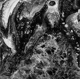 Liguid akwarela i atramentu abstrakcjonistyczny czarny i biały obraz Moczę dyszał ilustrację, abstrakcjonistycznego tło i tapetę, Fotografia Royalty Free