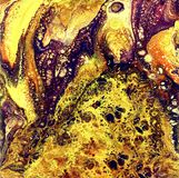 Liguid watercolor and ink abstract gold painting. Wet panted illustration, abstract background and wallpaper. Yellow. Liguid watercolor and ink abstract colored Royalty Free Stock Photography