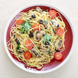 Liguine and mushroom pasta from above Stock Photography