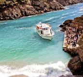 Ligurië, Italië - de baai van San Fruttuoso dichtbij Genua stock foto's