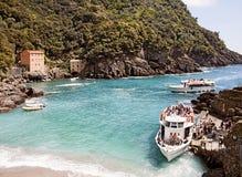 Ligurië, Italië - de baai van San Fruttuoso dichtbij Genua stock fotografie