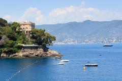 Liguria coast and Mediterranean Sea with boats near Portofino Royalty Free Stock Photos