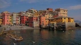 Liguria Italien, Genoa Boccadasse cityscape arkivfilmer