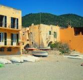 Liguria (italY) - house on beach. Varigotti-Liguria (italy) - house and boats on beach Royalty Free Stock Photography