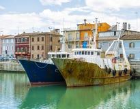 Liguria Italy - Old trawler fishing boats Stock Images