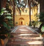 Liguria - Italy . patio. Liguria - Italy - Internal Patio with palmas tree Stock Images