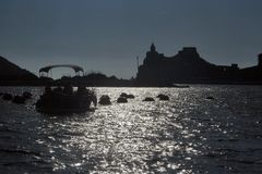 Liguria. Portovenere view of the church of St. Peter Stock Photography