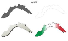 Liguria blank detailed outline map set. Liguria region blank detailed outline map set Stock Image