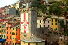 View of the colored buildings with tower of Portovenere Royalty Free Stock Photography