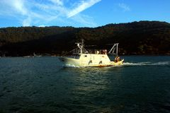 Liguria. Portovenere view fishing boat in front of Palmaria island Stock Image