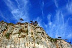 Liguria: vista da ilha do penhasco da ilha de Palmaria com as árvores e as nuvens rochosas do céu fotos de stock royalty free