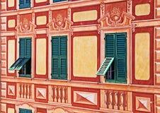 Liguria, Włochy - malujący domowy trompe-l& x27; oeil szczegół Obrazy Royalty Free