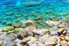 Ligurian天蓝的水背景 库存图片