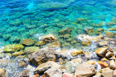 Ligurian cerulean water background. (Monterosso, Cinque Terre, Italy Stock Image