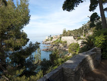 Ligurian coast. The Ligurian coast between vegetation Stock Image