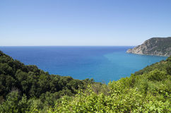 Ligurian coast view from the footpath  between  Monterosso al Mare and Vernazza Royalty Free Stock Photo