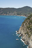 Ligurian coast view from the footpath  between  Monterosso al Mare and Vernazza Stock Images
