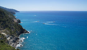 Ligurian coast view from the footpath  between  Monterosso al Mare and Vernazza Stock Image