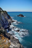 Ligurian coast view from the footpath  between  Monterosso al Mare and Vernazza Stock Photos