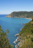 Ligurian coast view from the footpath  between  Monterosso al Mare and Vernazza Royalty Free Stock Image