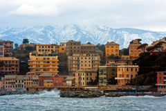 Ligurian houses between sea and mountains. Genoa between sea and mountains royalty free stock images