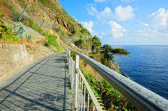 Ligurian landscape. On Via dell'Amore in the National park of Cinque Terre, Italy Royalty Free Stock Images