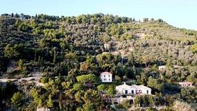 Ligurian landschap door een hommel wordt opgenomen die stock footage
