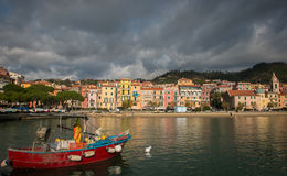 Ligurian Postcard. Typical ligurian landscape in morning lights stock images