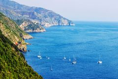 Ligurian rocky coast. View of scenic Ligurian rocky coast, Cinque Terre, Italy Royalty Free Stock Photography