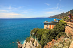 Ligurian sea. View on Ligurian sea from Recco - popular touristic town in northern Italy Royalty Free Stock Photos