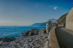 Ligurian Sea. Is an arm of the Mediterranean Sea indenting the northwestern coast of Italy. It extends between Liguria and Tuscany north and east and the French Royalty Free Stock Image