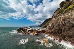 Ligurian sea coast at Manarola village, Italy. Royalty Free Stock Photo