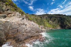 Ligurian sea coast at Manarola village, Italy. Royalty Free Stock Photography