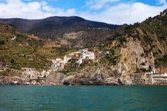 Ligurian sea coast at Manarola village, Italy. Royalty Free Stock Photos