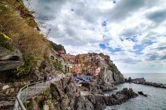 Ligurian sea coast at Manarola village, Italy. Stock Photos