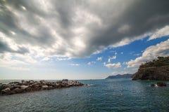 Ligurian sea coast at Manarola village, Italy. Stock Images
