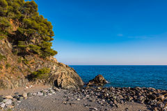 Ligurian stones beach Stock Photo