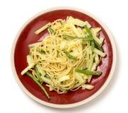 Liguryjski stylowy veg makaron z pesto Zdjęcia Royalty Free