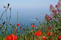 Liguryjskiego morza widok Fotografia Royalty Free