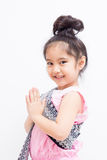 Liitle Asian child welcome expression Sawasdee Royalty Free Stock Images