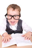 Liitle boy with glases and book Stock Photography