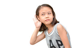 Liitle cute girl listening or hearing Royalty Free Stock Photography